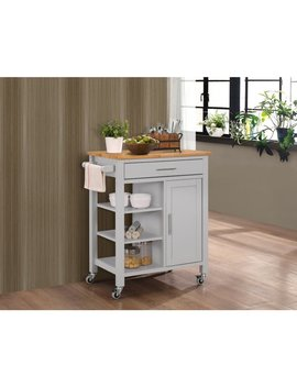 Copper Grove Ards Solid Wood Kitchen Cart With Natural Wood Top by Copper Grove