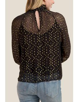 Elle Foil Dot Mock Neck Blouse by Francesca's
