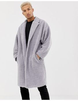 Asos Design Extreme Oversized Duster Jacket In Gray Borg by Asos Design