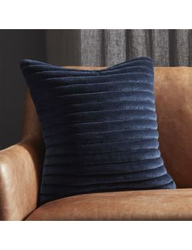 """18"""" Channeled Navy Velvet Pillow With Feather Down Insert by Crate&Barrel"""