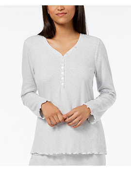 Waffled Henley Pajama Top by Ande