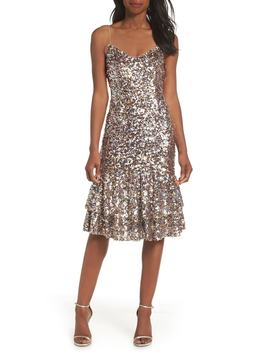 Ruffle Hem Sequin Midi Dress by Adrianna Papell
