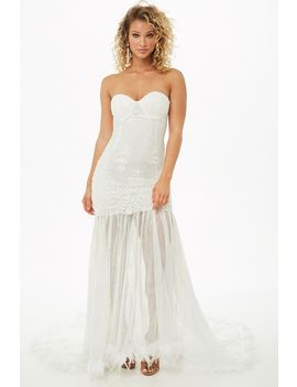 Embroidered Lace Feather Gown by Forever 21