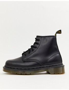 Dr Martens 101 6 Eye Leather Boots In Black by Dr Martens