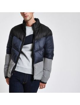 Blue Color Block Reflective Puffer Jacket by River Island