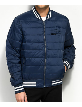 Members Only Puffer Navy Varsity Bomber Jacket by Members Only