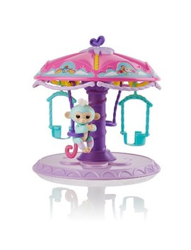 Fingerlings Playset Twirl A Whirl Carousel With 1 Fingerlings Baby Monkey   Abigail (Light Blue With Pink Glitter) By Wow Wee by Fingerlings