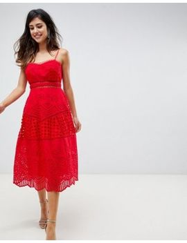 Asos Design Premium Lace Broderie Prom Midi Dress by Asos Design