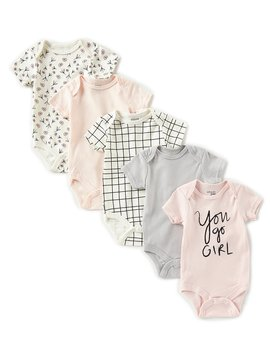 Baby Girls Newborn 9 Months You Go Girl Grow With Me 5 Pack Bodysuits by Chick Pea