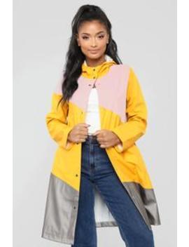 Major Colorblock Raincoat   Mustard/Combo by Fashion Nova