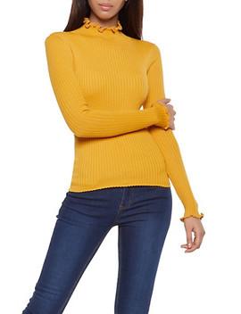 Lettuce Edge Mock Neck Sweater by Rainbow