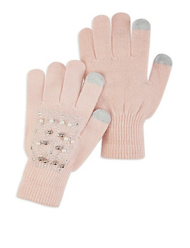 Faux Pearl Studded Touch Screen Gloves by Rainbow
