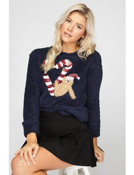 Soft Sherpa Sequin Christmas Graphic Sweater by Urban Planet