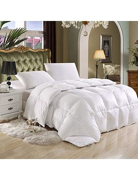 Egyptian Bedding Luxurious King / California King (Cal King) Hard To Find 90 Oz Fill Weight Goose Down Alternative Comforter, 600 Thread Count 100 Percents Egyptian Cotton Cover, 750 Fill Power, Solid White Color by Egyptian Bedding