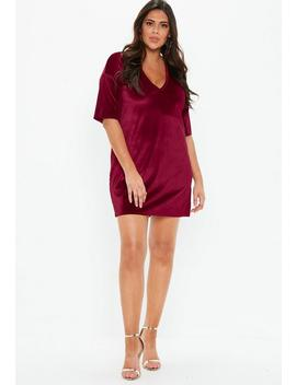 Plus Size Burgundy V Neck Velvet T Shirt Dress by Missguided