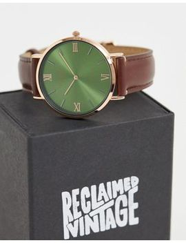 Reclaimed Vintage Inspired Contrast Dial Leather Watch In Brown Exclusive To Asos by Reclaimed Vintage