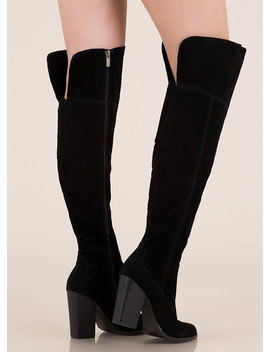 Showcase Faux Suede Thigh High Boots by Go Jane