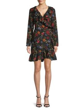 Long Sleeve Floral Wrap Dress by Kensie