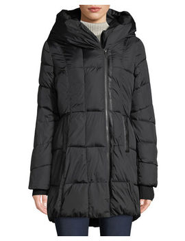 Quilted Hooded Zip Up Puffer Coat by French Connection