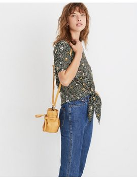 Silk Button Back Tie Tee In Dropleaf Floral by Madewell