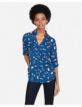 Original Fit Winter Print Portofino Shirt by Express