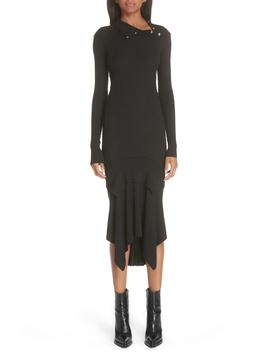 Snap Neck Rib Knit Sweater Dress by Stella Mccartney