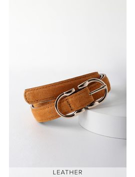 Sweet Deets Brown Suede Leather Double Buckle Belt by Lulus