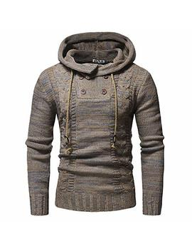 Haoricu Autumn Winter Men's Pullover Knitted Sweater Cardigan Coat Long Sleeve Hooded Sweatershirt by Haoricu