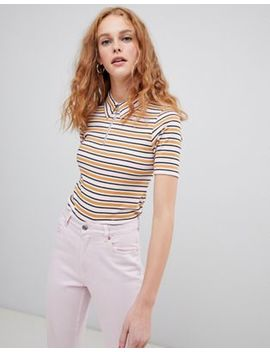 Asos Design Polo Top With Collar And Zip Detail In Retro Stripe by Asos Design