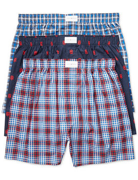 Men's 3 Pack Woven Cotton Boxers by Tommy Hilfiger