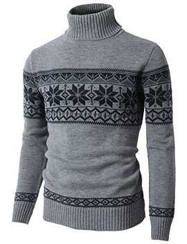 H2 H Mens Casual Knitted Pullover Christmas Sweater Shawl Collar With Snowflake Pattern by H2 H