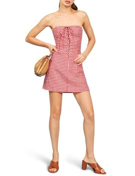 Sid Strapless Linen Minidress by Reformation