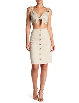 Linen Blend Top & Skirt 2 Piece Set by Love + Harmony