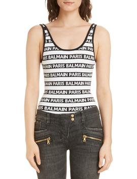 Ticker Logo Bodysuit by Balmain