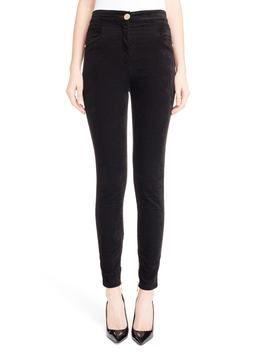 Skinny Velour Pants by Balmain