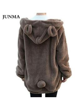 Hot Sale Women Hoodies Zipper Girl Winter Loose Fluffy Bear Ear Hoodie Hooded Jacket Warm Outerwear Coat Cute Sweatshirt Hoody by Junma