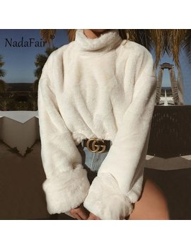 Nadafair Long Sleeve Turtleneck White Soft Plush Sweater Women 2018 Autumn Winter Casual Thick Warm Faux Fur Pullover Tops Women by Nadafair