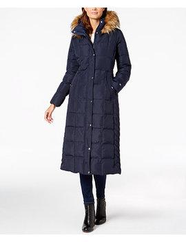 Faux Fur Trim Maxi Puffer Coat by Tommy Hilfiger