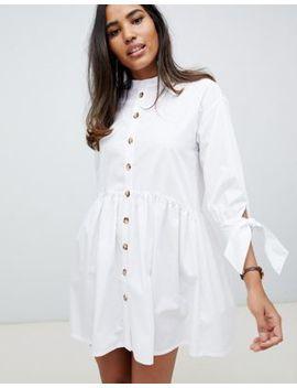Asos Design Grandad Collar Button Through Mini Smock Dress With Tie Sleeve by Asos Design