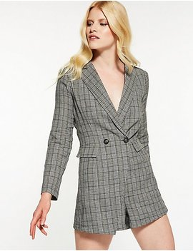 Plaid Blazer Romper by Charlotte Russe