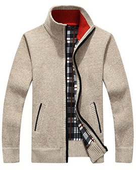 Yeokou Men's Casual Slim Full Zip Thick Knitted Cardigan Sweaters With Pockets by Yeokou