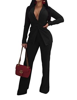 Jeanewpole1 Womens Sexy 2 Piece Long Sleeve Slim Fit Blazer Jacket With Long Pants Suit Set by Jeanewpole1