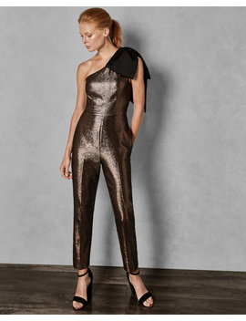 Sparkle Bow Shoulder Jumpsuit by Ted Baker