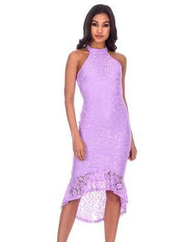 Lilac Lace Choker Neck Fishtail Hem Bodycon Dress by Ax Paris
