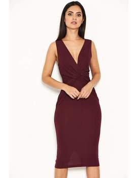 Plum Plunge Midi Dress With Twist Front by Ax Paris