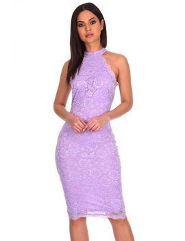 Lilac Halter Neck Lace Midi Dress by Ax Paris