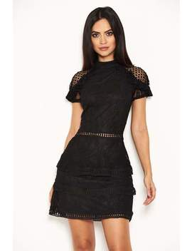 Black High Neck Lace Layer Frill Mini Dress by Ax Paris