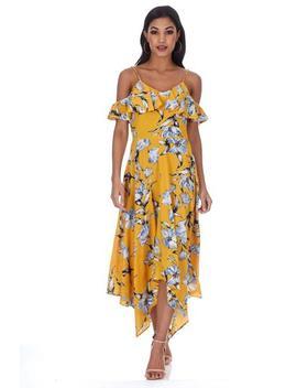 Yellow Floral Print Asymmetric Hem Dress by Ax Paris