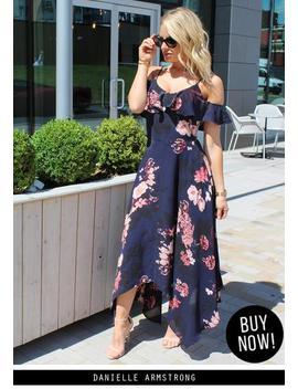 Navy Floral Cold Shoulder Maxi Dress by Ax Paris
