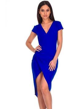 Blue Wrap Ruched Midi Dress by Ax Paris